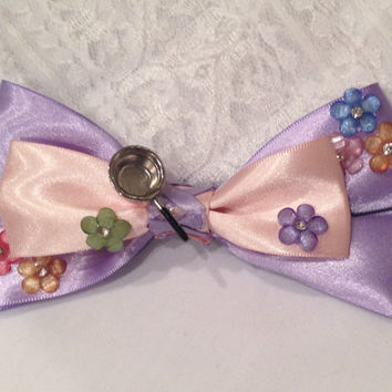 Rapunzel Tangled Flowered Bow With Frying Pan, The Lost Princess by Design Bowtique