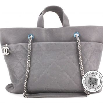 Authentic Chanel New A90485 Y0929 Cc Shopping Grey Caviar Shoulder Bag Shw MPRS