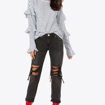 Striped To Tiers Top