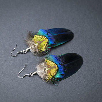 Cruelty free feathers earrings: Peacock feathers Iridescent blue Boho Chic jewelry Tribal earrings Bohemian earrings Real feathers