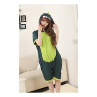 Unisex Adult Pajamas  Cosplay Costume Animal Onesuit Sleepwear Suit Summer  Green dinosaur