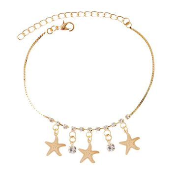 Fashion Infinity Charm Crystal  Goden Sea Star Starfish Pendant Ankle Bracelet Handmade Anklet Chain Barefoot