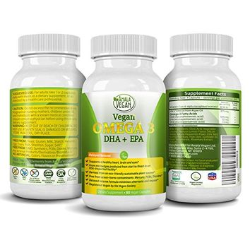 Potent Vegan Omega 3 Supplement w/Essential Fatty Acids, Vitamin E, DHA & EPA - Vegetarian Algae based & Non GMO Time-Release Capsules - Improve Eye, Heart, Brain Health - Better than Fish Oil
