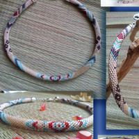 Beaded Crochet necklace CHOCOLATE AFTERNOON  toho beads