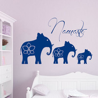 Elephant Wall Decals Ganesh Vinyl Decal Sticker Lotus Indian Elephants Animals Namaste Yoga Interior Design Art Mural Bedroom Decor kk851
