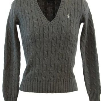 7a8394f81e Ralph Lauren Sport Womens Cable Knit V-Neck Polo Pony Logo Sweater - Gray