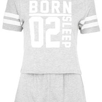 Born to Sleep Print Pajama Set - Grey Marl