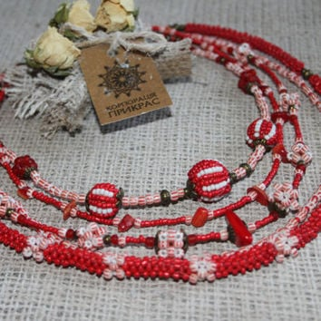 Red white multi strand beaded necklace + earrings set Red Necklace Modern Ukrainian Traditional Style Red White jewelry  Exclusive Beadwork