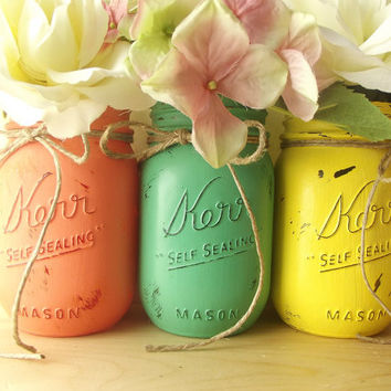 Home Decor, Three Hand Painted Mason Jars - Rustic - Style, Painted Mason Jars - Peach, Green and Yellow