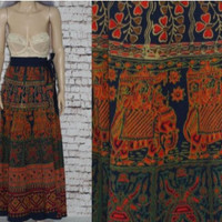70s High Waist Maxi Skirt Wrap India Cotton Boho Festival Hippie Gypsy Ethnic Print Bohimian 60s Elephant M