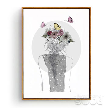 Girl with Flowers Canvas Art Print Painting Poster,  Wall Pictures for Home Decoration, Wall Decor CM033-2