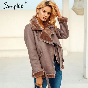 Simplee faux PU motorcycle jacket coat Women fur collar thick lambswool outwear coat Winter 2018 zipper belt coat parka mujer