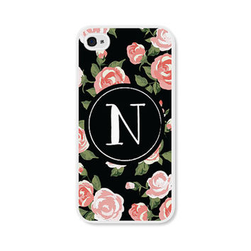 Monogram Gifts - iPhone 5 Case Monogram iPhone 5c Case - Coral Floral Monogram Case - Monogram Phone Case Floral iPhone 5 Case iPhone 4 Case