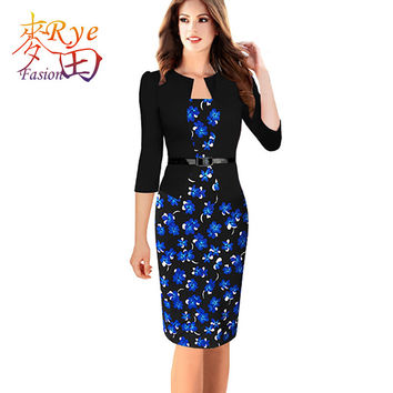 Women Pencil Dress Plus Size 6L Long Kleider Elegant 2016 Summer Office Bodycon Vestidos Wear To Work Business Dresses 6XL 7XL
