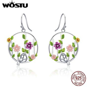 WOSTU Real 100% 925 Sterling Silver Spring Collection Birds & Flower Drop Earrings For Women Romantic S925 Jewelry Gift CQE480