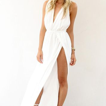 White Maxi Dress with Plunge Neckline and Split Skirt