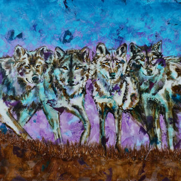 """""""Moonlight Force"""" - wolf painting by Shawndell Oliver"""