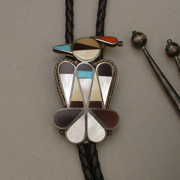 Vintage Native American ZUNI Thunderbird BOLO Tie Turquoise Coral Pen Shell Pearl STERLING Silver Tips Bennett Clip Large Size