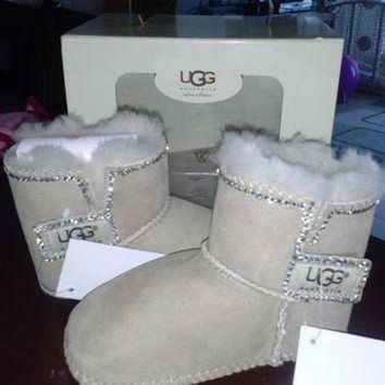 CREY9N baby uggs baby boots fur boots