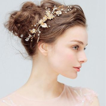 Charm Flower Gold Color Hair Slide Floral Head Piece Pearl Wedding Hair Comb Clip Crystal Bridal Hairpin Jewelry Hair Accessory