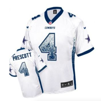 DCCK Dallas Cowboys Jersey - Dak Prescott - Men's White Drift Fashion Elite Football Jersey