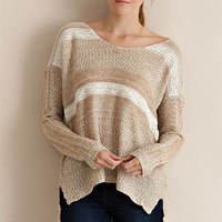 Crochet Lace Detail Sweater - Taupe