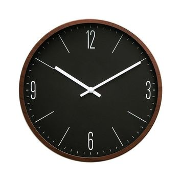 """Rustic Minimalist 12"""" Wall Clock Silent Non-Ticking Sweep Movement with Vintage Wood Grain Frame (Simple Black With Walnut Wood)"""