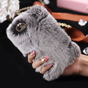 [ETC]-Soft & Fuzzy Faux Fur iPhone 6 Plus Case- Grey