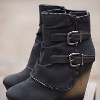 Why Don't We Just Wedge Double Buckled Wedge Booties (Black)