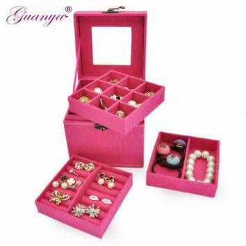 Creative Cube Jewelry Box makeup organizer necklace/earring Stud Collection Portable travel Jewellery boxes Gift for girl 653