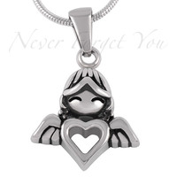 "Cremation ""Angel Heart"" Urn Necklace"