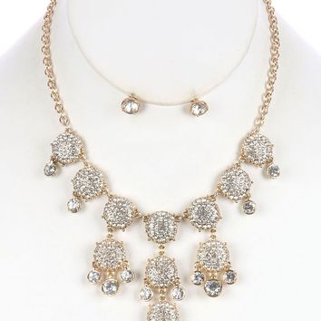 Pave Crystal Stone Bubble Style Bib Convex  Link Chain Necklace Earring Set