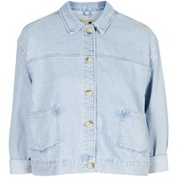 MOTO Boxy Crop Denim Jacket - Bleach