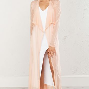Sheer Mesh Cardigan in Peach