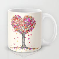 Love in the Fall - Heart Tree Illustration Mug by micklyn