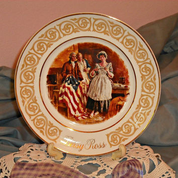 Betsy Ross Patriotic Collectible Plate 1973 | Avon Enoch Wedgwood England