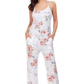 Floral Wide Leg Jumpsuit In White LAVELIQ