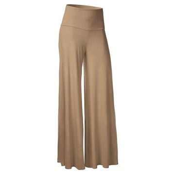 [13353] Women Comfy Chic Solid Palazzo Pants