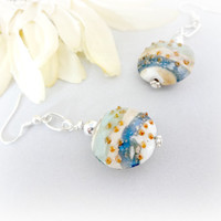 Beautiful Tropical Earrings, Tranquil Lampwork Earrings, Beach Jewelry