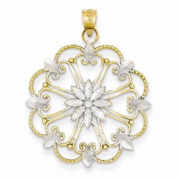 14k Two-tone Gold Starburst Pendant