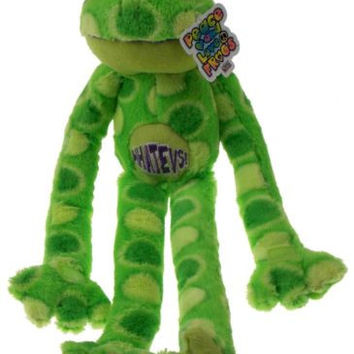 Peace and Love Frog Whatevs Green Spots Hanging Soft Plush Embroidered