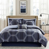 Queen Size 9-Piece Elegant Comforter Set with Dark Blue Hexagon Pattern