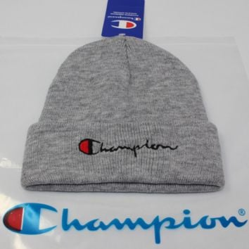 Champion male and female alphabet embroidery knit couple student woolen cap Gray