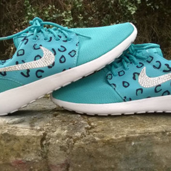 blinged nike roshe leopard sneakers run athletic sport shoes womens grass green color custom with crystal swarovski