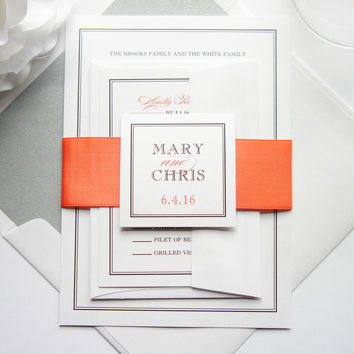 Coral Wedding Invitation - SAMPLE SET