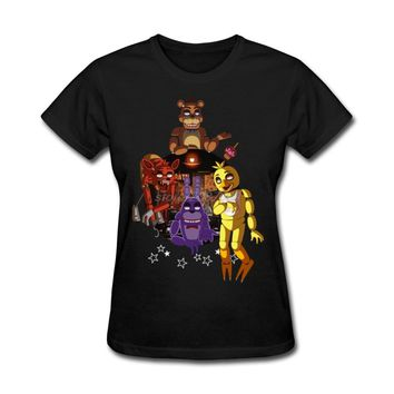 O Neck T-Shirt Womens Personalized FNAF The Gang Women's Tee New Design Cool Tee Shirts Round Collar