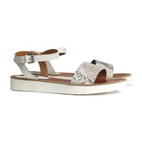 H&M - Leather Sandals - Light gray - Ladies