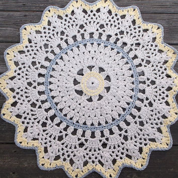 "Off White, Grey, Yellow Crochet Doily Rug in 31"" Circle Lacy Pattern Non Skid READY TO SHIP"