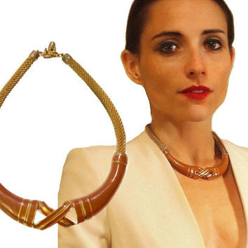 Vintage 70s LANVIN Enamel & Gilt Snake Chain Modernist Necklace