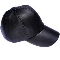 Faux Leather Cap - Black